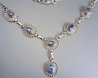 Vintage Sterling Turquoise Drop Pendant Necklace