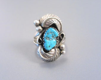 Vintage Navajo Sterling Turquoise Ring Size 6