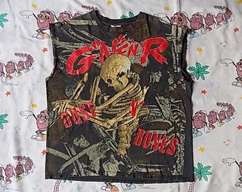 "Vintage 90's Guns N Roses Dust N Bones all over print cut off sleeve T shirt, size L/XL 1992 muscle tee G""N""F'NR!"
