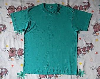 Vintage 80's Plain Teal Screen Stars T shirt, size Medium basic tee Undershirt