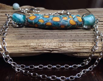 African Trade Bead Choker, Chunky Aqua Yellow Bar Necklace, Multicolor Lampwork Silver Necklace, Free Shipping, River of Beauty Designs