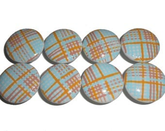 Custom Multi Colored Plaid Striped Hand Painted Drawer Pulls Knobs