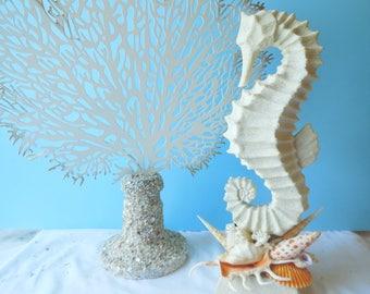 Spectacular SeaHorse Statue- Coastal Home Decor-Seahorse Sculpture-Seashell Art