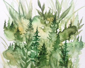 Everything Green - Original Watercolor Painting