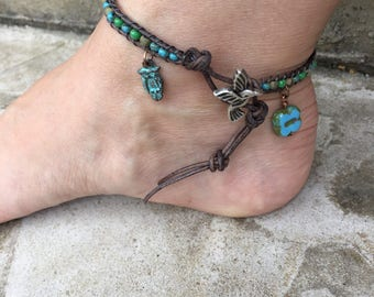 Hummingbird Anklet Owl Anklet Four Leaf CloverAnklet Bohemian Leather Ankle Bracelet Boho Chic Made in USA Cute Anklet Bohemian Jewelry