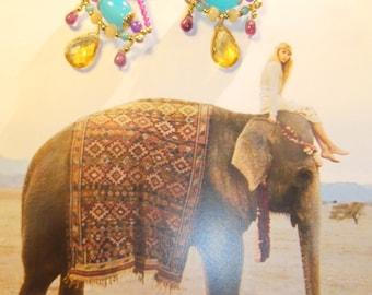 Sleeper earrings, Indian-inspired, boho chic, precious, gemstones, OOAK