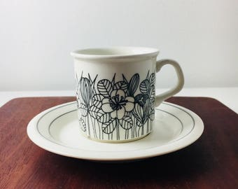 """Vintage Arabia Finland coffee cup with saucer named """"Krokus"""" by Esteri Tomula,1970s"""