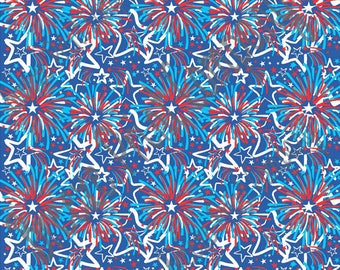 Patterned vinyl sheets, fireworks and star pattern, HTV heat transfer or adhesive craft vinyl, Fourth of July, hand drawn, inspired  HTV2256