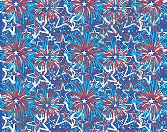 craft vinyl sheet fireworks and star pattern vinyl Fourth of July red white blue hand drawn inspired USA pattern HTV2256