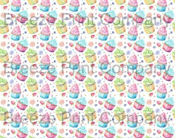 Cupcake and candy pattern printed craft vinyl sheet - HTV or Adhesive Vinyl -  watercolor sweets birthday HTVWC23