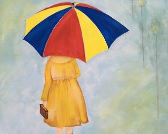 CLEARANCE!!!   A Walk in the Rain, acrylic painting on 16 x 20 canvas