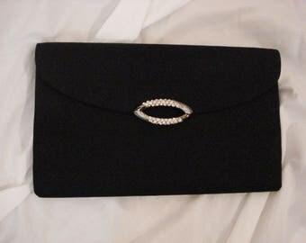 Black Silk Italian RODO Evening Bag Clutch Purse Shoulder Bag Designer Bag