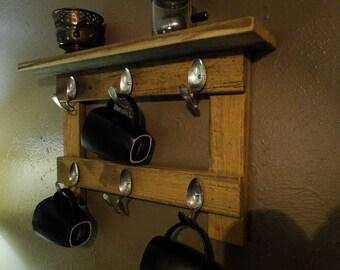 Coffee Mug Rack Tea Cups Display Rustic Spoon hooks FREE Shipping