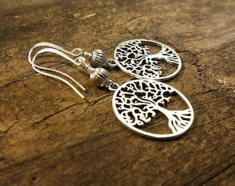 Tree of Life Earrings, Silver Earrings, Dangle Earrings