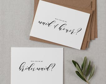 5 x Will You be My Bridesmaid Card, Bridesmaid Proposal, Maid of Honor Card, Will You Be My Maid of Honor, Bridesmaid Card, Bridal Cards,K10