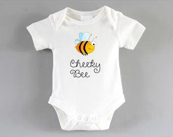 Cheeky Bee Onesie ~ New baby unisex gift ~ pregnancy announcement party ~ baby shower gift ~ cool baby clothes ~ babygrow ~ bodysuit