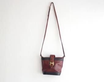 Vintage Leather Bag, Small Shoulder Bag, Brown Black Leather Purse, Evening Bag, Cross Body Bag