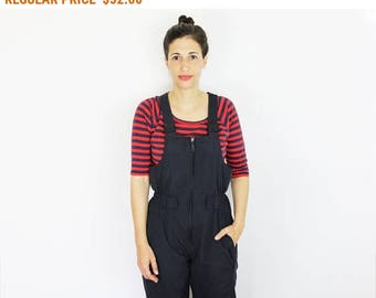 Vintage Black Ski Suit/ Puffy Mechanic Overalls/ Unisex Black Jumpsuit
