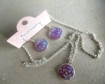 Kit set earrings and necklace rhinestone, silver and shiny purple