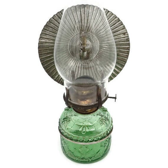 Green Pressed Glass Wall Mount Oil Lamp With Reflector