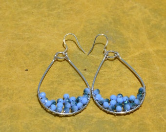 925 Silver Blue Crystal Hoops