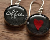 Coffee is Love earrings made from recycled Starbucks gift cards. sterling silver and resin.