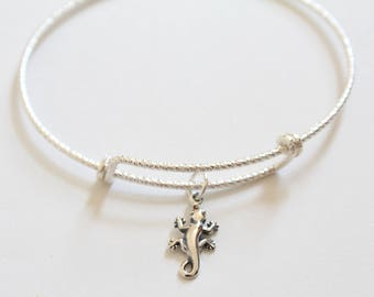 Sterling Silver Bracelet with Sterling Silver Gecko Charm, Gecko Bracelet, Lizard Bracelet, Lizard Charm Bracelet, Gecko Charm Bracelet
