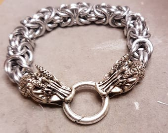 Byzantine chain maille bracelet with dragons head clasp