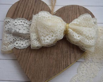 Lace Headband/Lace Bow/Ivory Lace Bows/Baby Girl Headbands/Girl Lace Hair Bows/Lace Headband