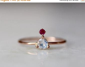 ON SALE 14K Moonstone Ruby Ring, Rainbow Moonstone, Blue Moonstone, Mixed Stone Ring, Floating Stone, Rose Gold, Yellow Gold, Solid Gold