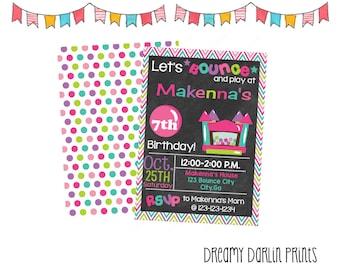 Girl Chalkboard Bounce House Birthday Invitation, Bouncy House Invite, Girl Birthday Invitation,JPG, PDF
