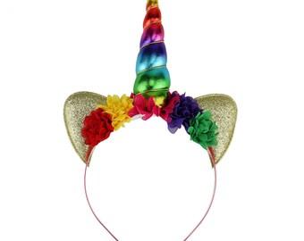 Chic Metallic Rainbow Cosplay Festival Women Girl Unicorn Horn Hairband Trendy DIY Hair Accessories For Kids Headwear