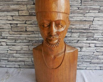 Vintage caved wooden figure a African man