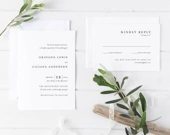 Printable Wedding Invitation Suite | Modern Wedding Invitations | Simple Wedding Invitations | Wedding Invitation Set | WI-053