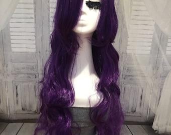 long purple wavy wig long bangs purple curly hair cosplay mermaid length 15