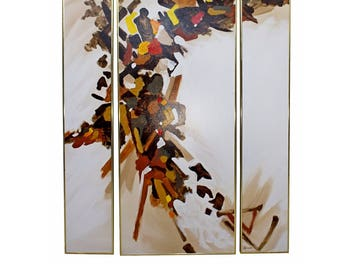 Mid Century Modern Framed Abstract Triptych Painting Signed Simon Autumn Colors