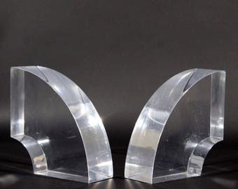 Mid Century Modern Vintage Pair of Thick Lucite Bookends