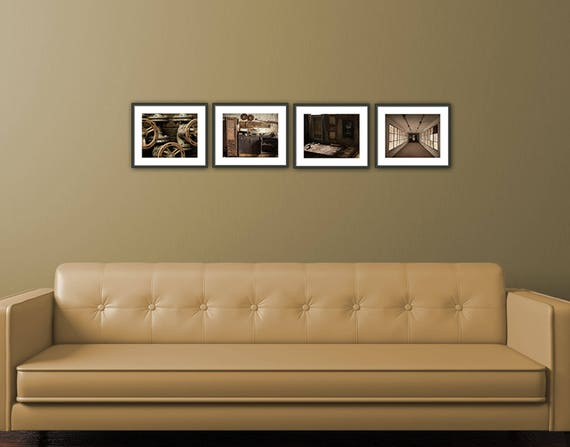 INSTANT DOWNLOAD, Living room Decor, Set of 4 Photographs, Living room Art Set, Urban Decay, Living room Wall Art, Rustic Home Decor, Brown