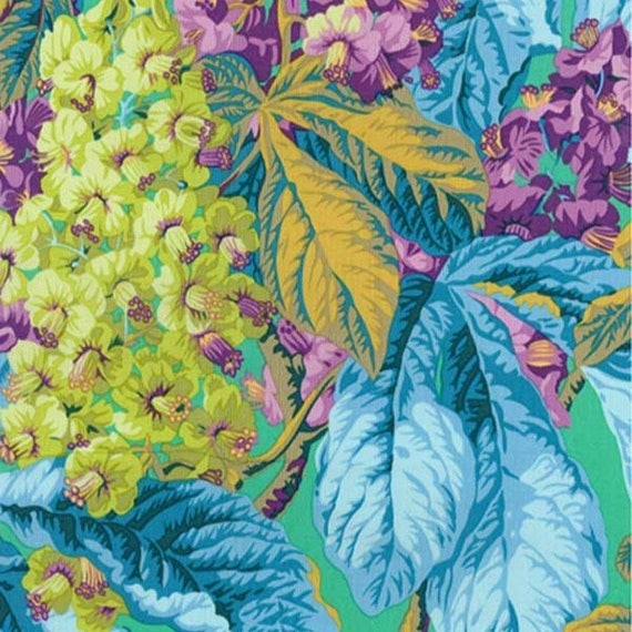 HORSE CHESTNUT Green Philip Jacobs Kaffe Fassett Collective Sold in 1/2 yd increments