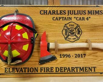 Firefighter Axe & Helmet Wall Display