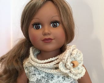 "FLOWER SCARF.  Accessory.  18"" doll.  Hand crocheted.  Winter. Accessories.  Crocheted Scarf.  Fits American Girl Doll."