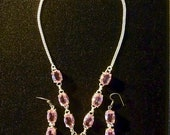 "SPRING FLING SALE Beautiful Pink Topaz Necklace/Earring Set  Handmade 925 Sterling Silver Setting 18"" Necklace 2 3/4"" Earr"