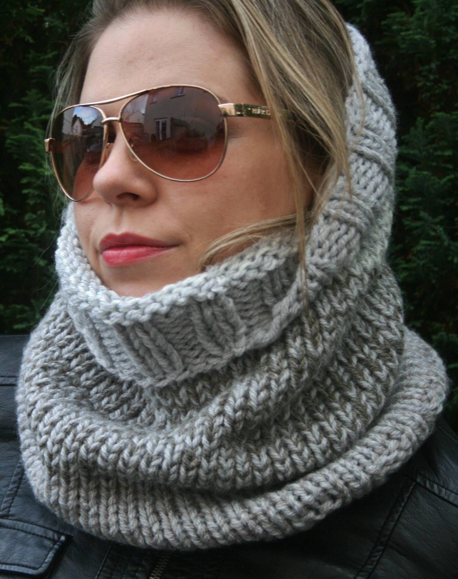 Knit Snood Scarf Women\'s Hooded scarf, Head scarf, Chunky Cowl ...