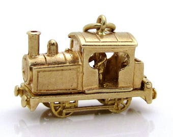 SALE! Vintage 9ct. Gold 3D Locomotive Train with Engineer Charm OPENS! 1960s