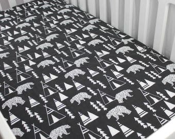 Fitted Crib Sheet - Bears and Teepees on Black - Nursery Bedding