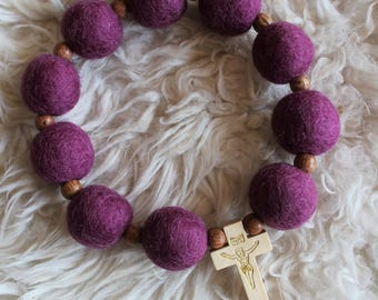Berry Felt Ball Decade Rosary, Wine-berry Felt Ball with natural wood bead accents