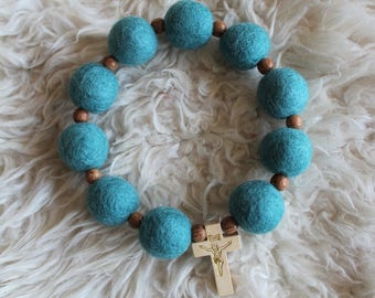 Teal Felt Ball Decade Rosary with Wood Accent Beads