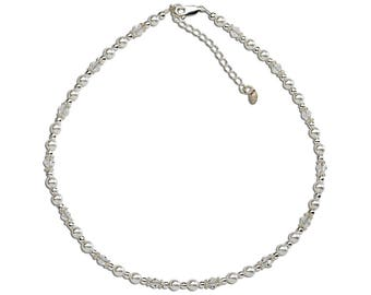 Girls Sterling Silver Necklace with White Swarovski Pearls and Crystal  Comes in Gift Box (Necklace for Girls) (BN-Hope)