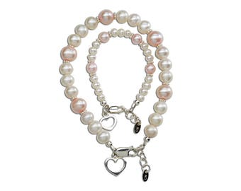 """Sterling Silver Mom and Me Bracelet Set """"Your Hearts are Entwined Forever"""" with White and Pink Pearl  for Mother's Day Gift (MMH-FWP Pink)"""