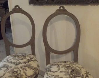 CHAIRS style MARIE ANTOINETTE tints in shades of gray and French toile de jouy